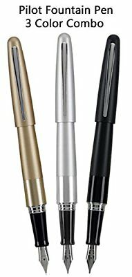 Pilot Metropolitan 3 Pen Fountain Set Medium Nib, Black Ink, Black, Silver Gold