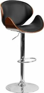 Faux Leather Bentwood PU Bar Stool in Black, $60 only!