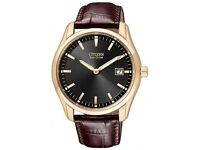 Citizen Eco-Drive Rose Gold Tone Leather Mens Watch