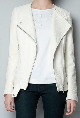 Zara White Leather Jacket