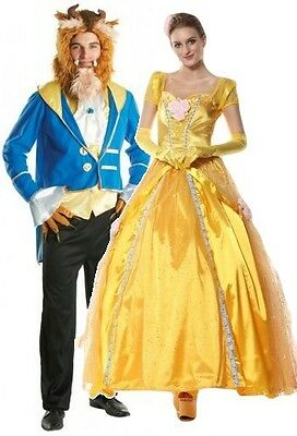 Couples Mens & Ladies Disney Beast & Princess Book Fancy Dress Costumes Outfits