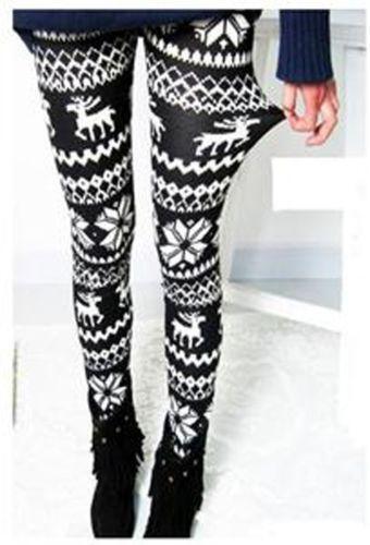 Nordic Snow Knitted Womens Leggings Ebay