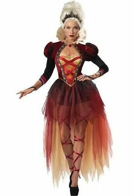 Awesome Adult Woman's QUEEN OF DIAMONDS Dress Costume & Crown Sz L (12-14) New