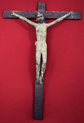 Rare 18th Century Colonial gesso wood Carved crucifix with glass eyes