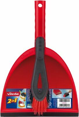 Vileda 2-in-1 Dustpan Set, Red