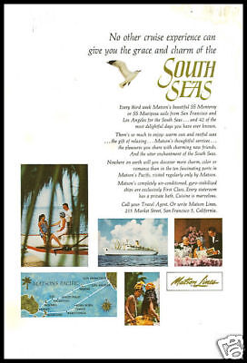 1964 vintage ad for Matson Cruise Lines