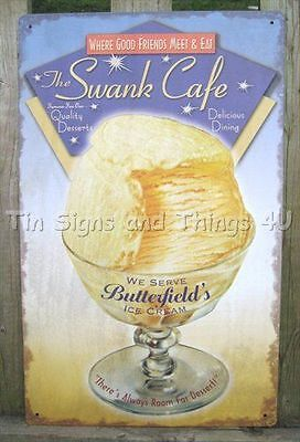 Swank Cafe Butterfield's Ice Cream TIN SIGN metal vintage advertising poster OHW