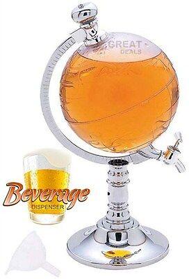 Globe Shaped Beverage Dispenser Beer Drink 65 oz Tap Bar Liquor 1/2 Gallon World