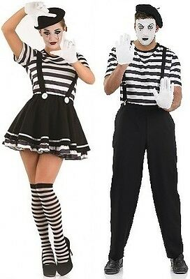 Mime Halloween Outfit (Couples Ladies AND Mens Mime Circus Halloween Fancy Dress Costumes)