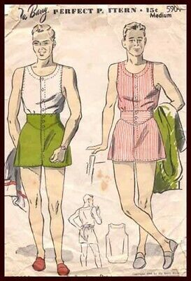 1940s Men's Shirts, Sweaters, Vests 1944 MEN'S UNDERSHIRT SHORTS SWIMWEAR PATTERN $40.00 AT vintagedancer.com
