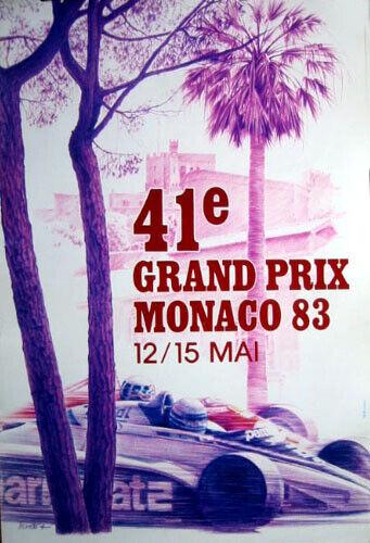 Poster 1983 Monaco Grand-Prix F1 original A