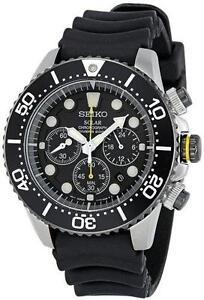 BRAND NEW Seiko Men's SSC021 Solar Diver 200M CHRONO Watch 3 YEAR WARRANTY