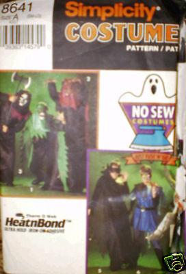 8641 Vintage Uncut Simplicity Muster Halloween Kein Nähen Kostüm Ff Hexe Ninja