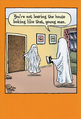 Funny Halloween Cards (Wrinkled Ghost Funny Halloween Card - Greeting Card by)
