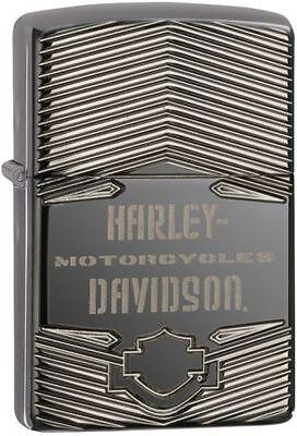 Zippo Armor Harley Davidson Black Ice Lighter With Logo, 29165, New In Box