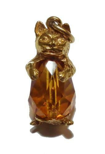 9ct Gold Cat Charm Ebay