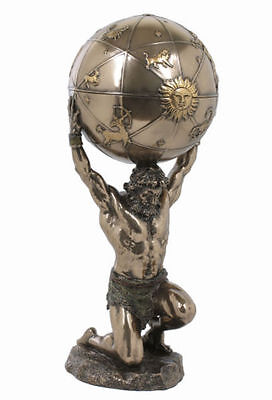 """FIGURINES /""""WEIGHT OF THE WORLD/"""" ATLAS SCULPTURE CARRYING AN ETCHED GLASS GLOBE"""