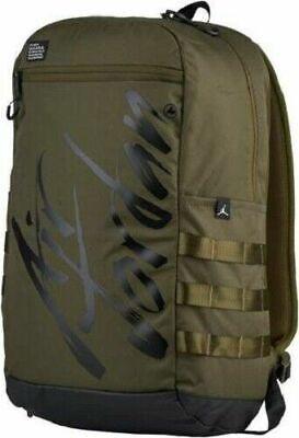 Nike Air Jordan Flight Script Backpack Olive Green Black 9A0174-X34 NWT