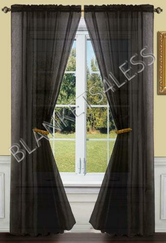 black sheer curtains ebay