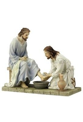 8.5 Inch Jesus Washing Disciples Feet Christ Statue Figurine Religious Decor