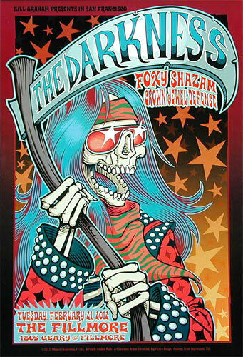 The Darkness Foxy Shazam 2012 Fillmore SF Concert Poster F1135 Reuben Rude Glam