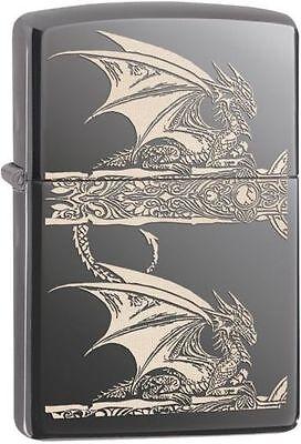 "Zippo ""Anne Stokes-Gothic Dragon"" Black Ice Chrome Lighter, Full Size, 28961"