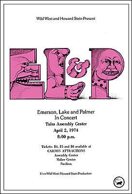 EMERSON LAKE & PALMER 1974 Tulsa OK Concert Poster