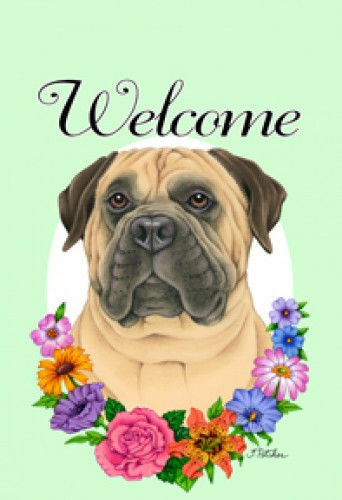 Welcome Flowers House Flag - Bullmastiff 63050