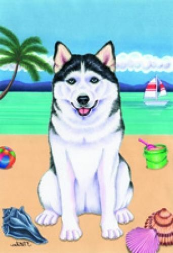 Beach House Flag - Siberian Husky 69038