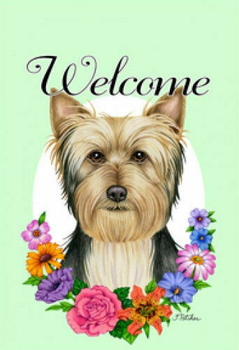 Welcome Flowers House Flag - Silky Terrier 63102