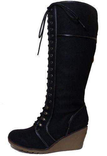 black suede wedge knee high boots ebay