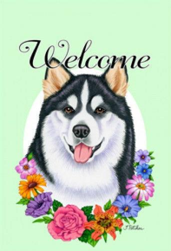 Welcome Flowers House Flag - Alaskan Malamute 63147