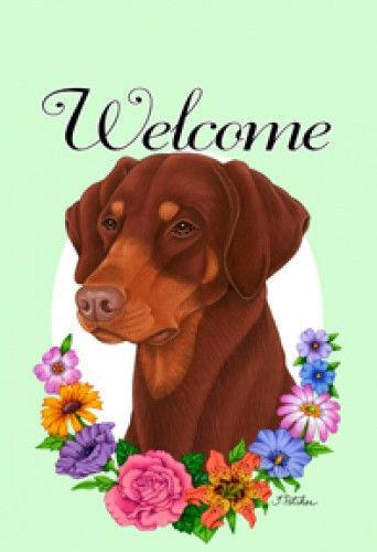 Welcome Flowers Garden Flag - Uncropped Red Doberman Pinscher 631861