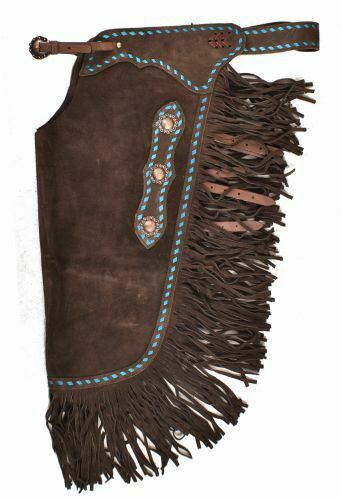 Western Saddle Horse Chinks / Chaps Brown Suede w/ Turquoise Buckstitch S  M  L