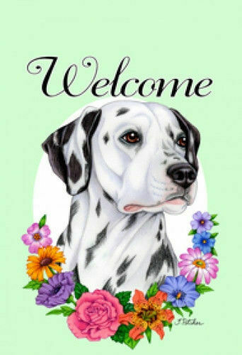 Welcome Flowers House Flag - Dalmatian 63009