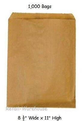 Natural Merchandise Paper Bag - Flat Paper Bags 1000 Natural Kraft Retail Gift Medium Merchandise 8 ½