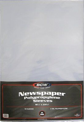 """NEW 50 Newspaper Sleeves  16 1/4"""" x 24 1/8""""  BCW Brand FREE SHIPPING"""