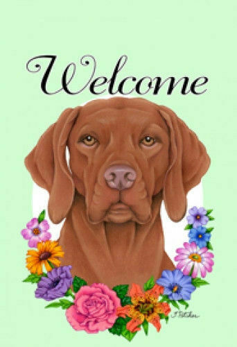 Welcome Flowers House Flag - Vizsla 63052