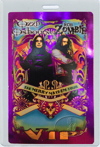 ROB ZOMBIE OZZY OSBOURNE 2001 Merry Mayhem Tour Laminated Backstage Pass