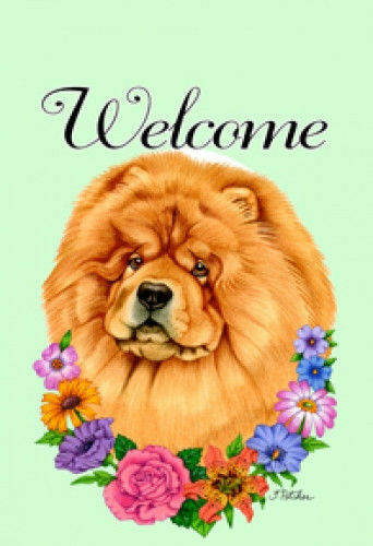 Welcome Flowers House Flag - Chow Chow 63114