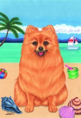 Beach Garden Flag - Pomeranian 690131