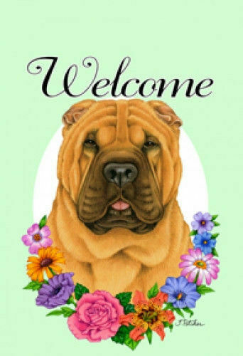 Welcome Flowers House Flag - Shar Pei 63053