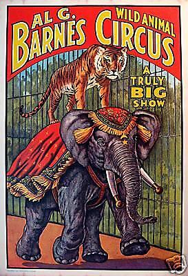 1960 Al G Barnes Circus World Museum Wild Animal Poster