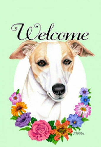 Welcome Flowers House Flag - Whippet 63062
