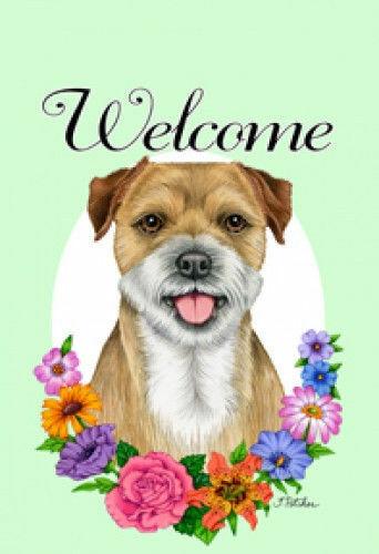 Welcome Flowers House Flag - Border Terrier 63122