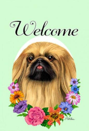 Welcome Flowers House Flag - Pekingese 63042