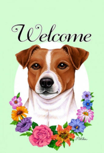 Welcome Flowers Garden Flag - Jack Russell Terrier 630241