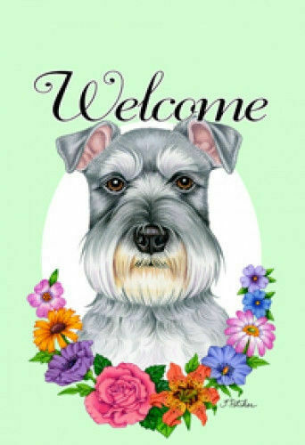 Welcome Flowers Garden Flag - Uncropped Shnauzer 630401