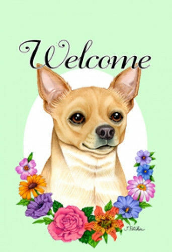 Welcome Flowers Garden Flag - Chihuahua 630461