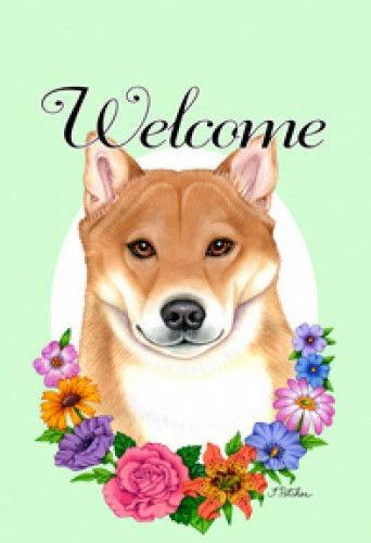 Welcome Flowers House Flag - Shiba Inu 63103